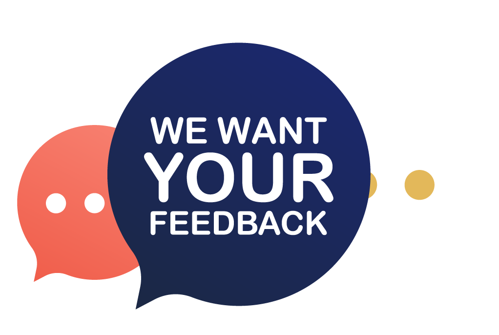 """text cloud reads """"we want your feedback"""""""